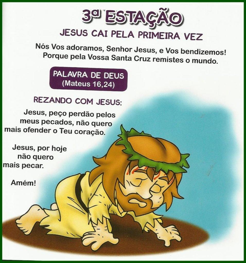 Via Sacra Infantil - 3ª Estação: Jesus cai pela primeira vez