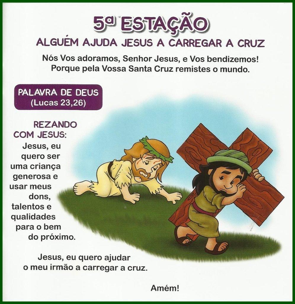 Via Sacra Infantil - 5ª Estação: Alguém Ajuda Jesus a Carregar a Cruz