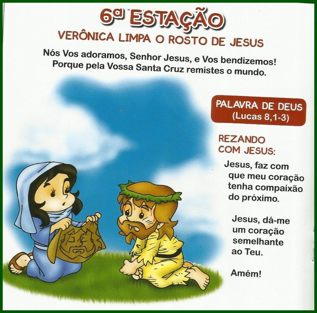 Via Sacra Infantil - 6ª Estação: Verônica Limpa o Rosto de Jesus